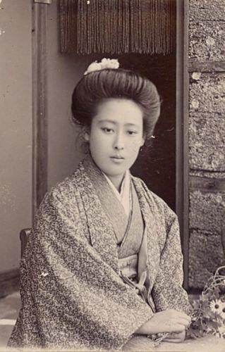 Flowers Woman Fashion Japan OLD CDV Photo 1900'