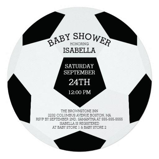 Modern It's A Boy Soccer Baby Shower Invitations