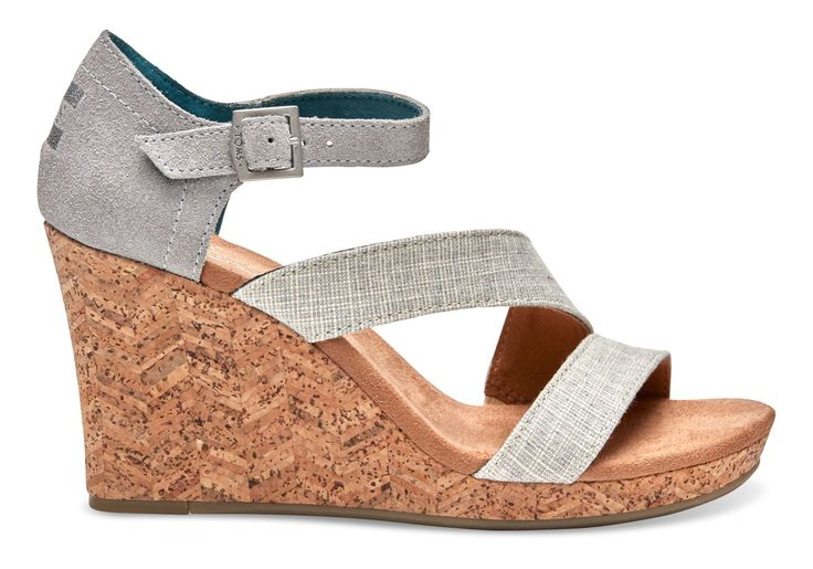 TOMS TOMS Grey And White Linen With Chevron Cork Women's Clarissa Wedges. #toms #shoes #all