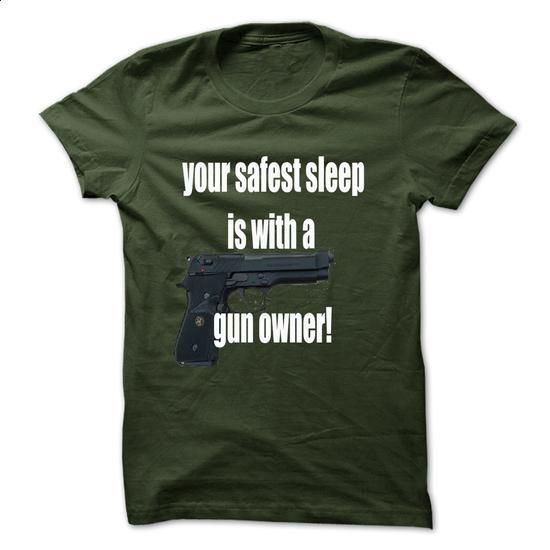 safest sleep is with a gun owner - #design t shirts #customize hoodies. I WANT THIS => https://www.sunfrog.com/Funny/safest-sleep-is-with-a-gun-owner.html?60505