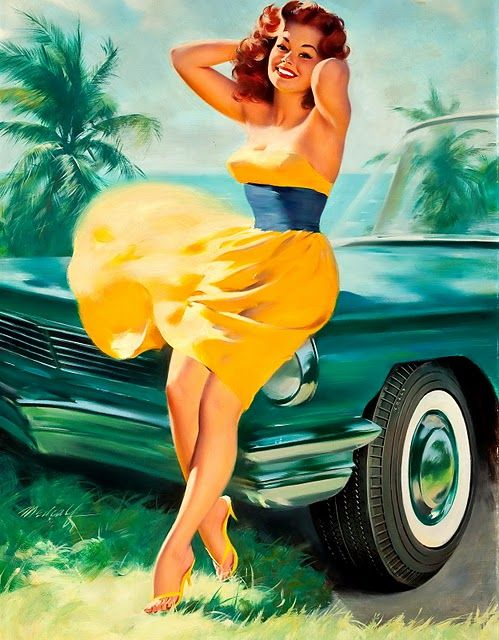 Rayonnante pin-up et sa voiture typique US ... Lovely ! Via Pin Up Girl By William Medcalf Vintage Classic Cars And Girls
