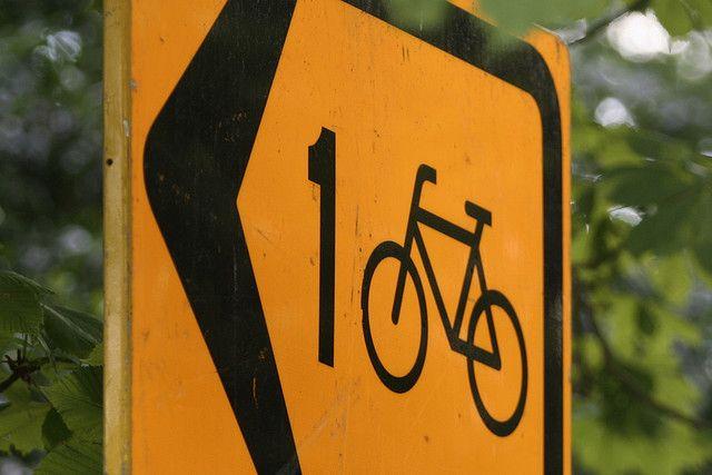 Yellow signs mean detour. Follow the arrows.