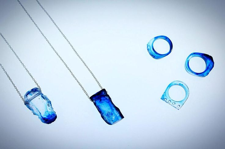 Exploring contrasting textures with these cast glass pendents and rings #texture #jewellery #jewelry #ring #necklace #glass #castglass #blue