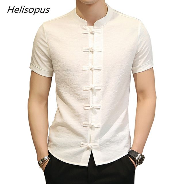 fe16987565b30 Helisopus 2018 Men Slim Fit Shirt Vintage Cotton Linen Camisa Masculina  Short Sleeve Dress Shirt Kung Fu Shirt Asian size Review