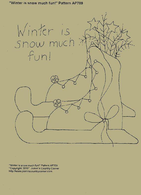 Winter is snow much fun. Primitive Stitchery par JoAnnCountryCorner, $2.00