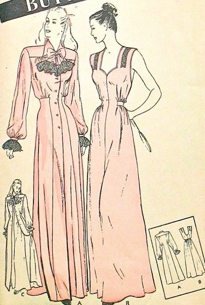 BUTTERICK 3709 VINTAGE SEWING PATTERN 1940s GLAMOROUS NIGHTGOWN and FITTED…