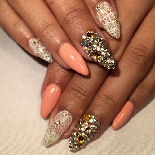 | Peach Stiletto Nails | Modern | Lace Stiletto Nails with ...