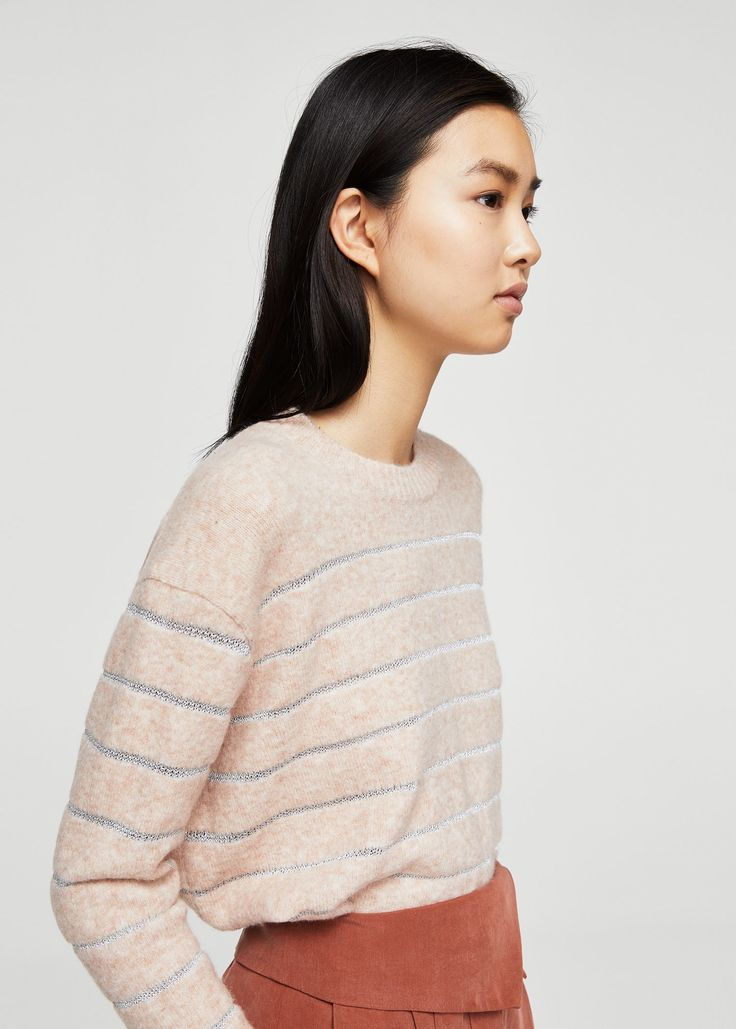 Metallic striped sweater -  Women | MANGO USA