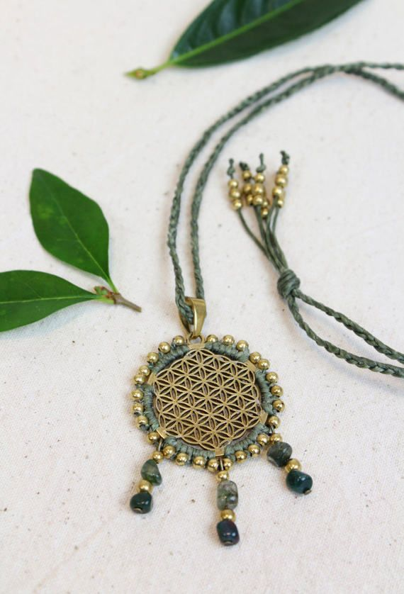 Flower of Life necklace, Sacred Geometry pendant, bohemian jewellery, macrame, brass beads, green gemstone neckace