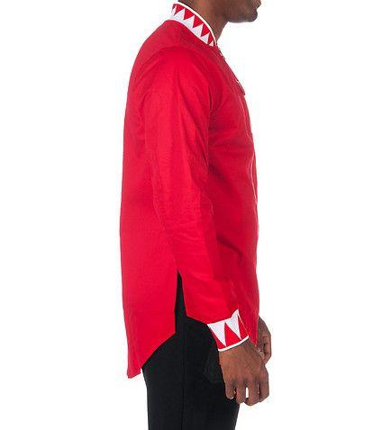 BASS BY RON BASS MENS BASS TEETH ELONGATED WOVEN SHIRT Red