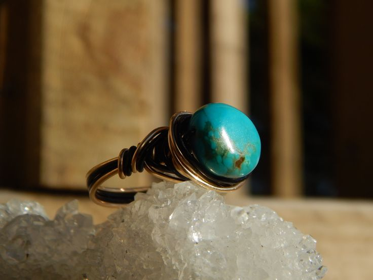 Turquoise Black & 12K Gold Wire Wrapped Ring Heart by PureCraftNz