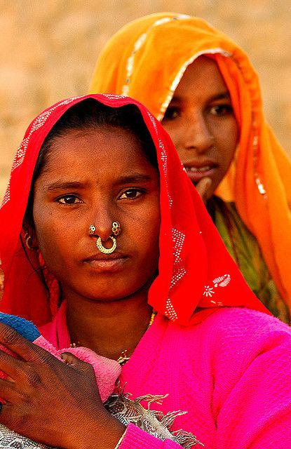 INDIA: colorful women in a village market...