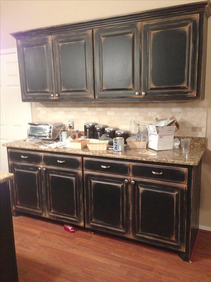 Nice How To Antique Black Cabinets Black Cabinets With Faux Distressing Used 3 Differ Distressed Kitchen Cabinets Rustic Kitchen Cabinets Distressed Kitchen
