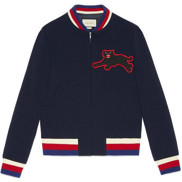 Gucci Jersey Bomber Jacket With Panther (€1.395) ❤ liked on Polyvore featuring men's fashion, men's clothing, men's outerwear, men's jackets, men, outerwear and ready to wear