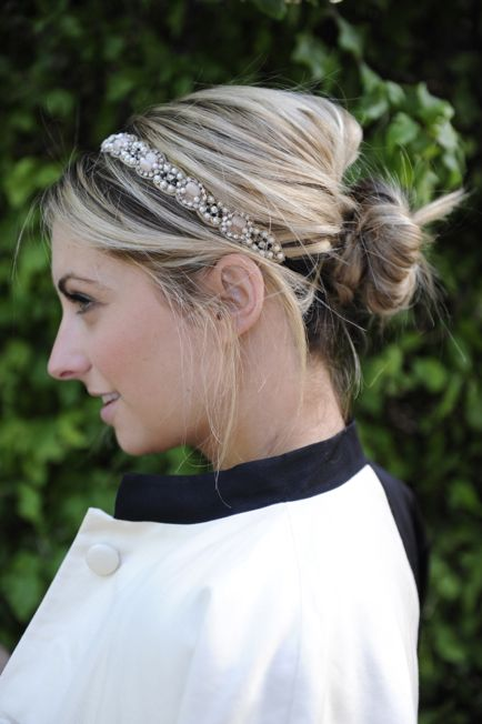 A jeweled headband with a bun is my new best friend. No matter what your hair really looks like, it's immediately upgraded with some bling and a messy bun!