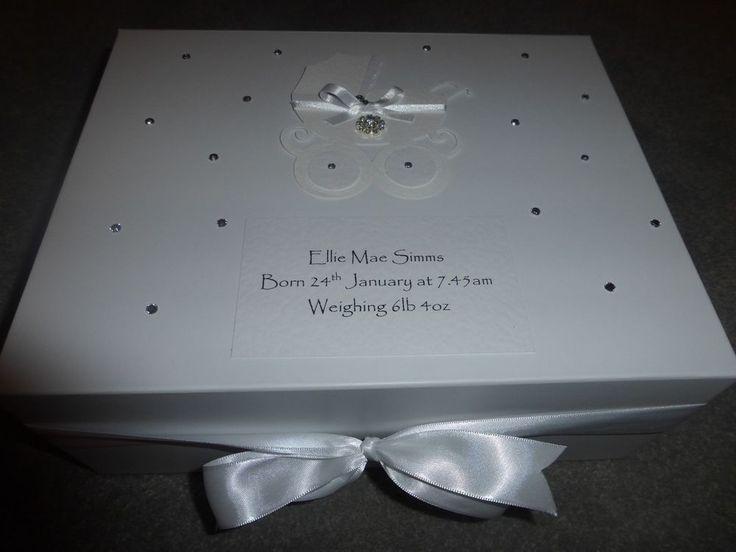 Personalised memory Box New Baby Keepsake Box Baby Shower white pram diamante