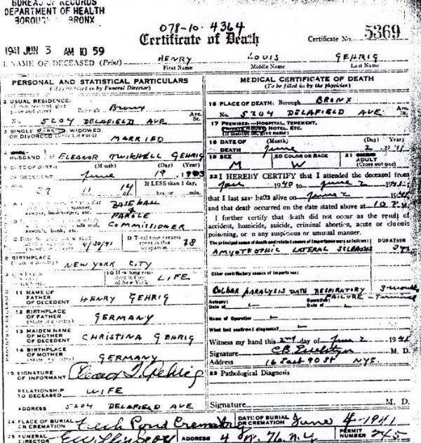 copy of lou gehrigs death certificate