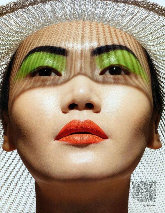 *: Asian Models, China July, Makeup, Orange Lips, Green Eyes, Eric Maillet, July 2012, Vogue China, Gwen Lu