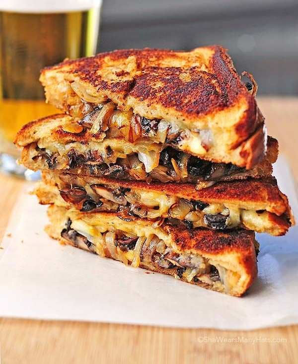 Grilled Cheese with Gouda, Roasted Butter Mushrooms and Onions