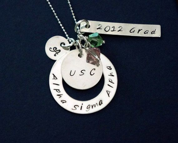Sorority Gift, Necklace - Sterling Silver Chain, Hand Stamped Charm Necklace, Personalized, College Graduation Gift via Etsy