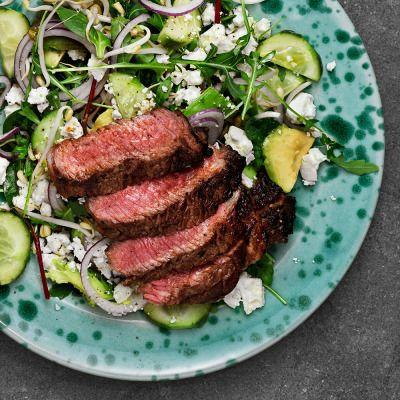 Grillad entrecôte med skön grön sallad