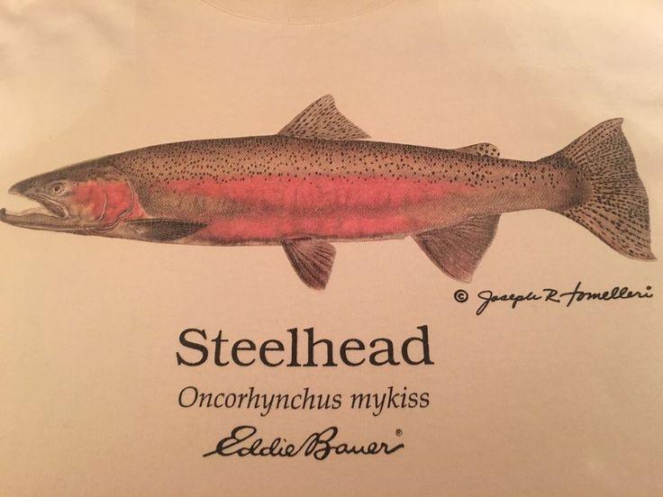 Vintage Men's Eddie Bauer Steelhead Fish T-Shirt Size Large  | eBay