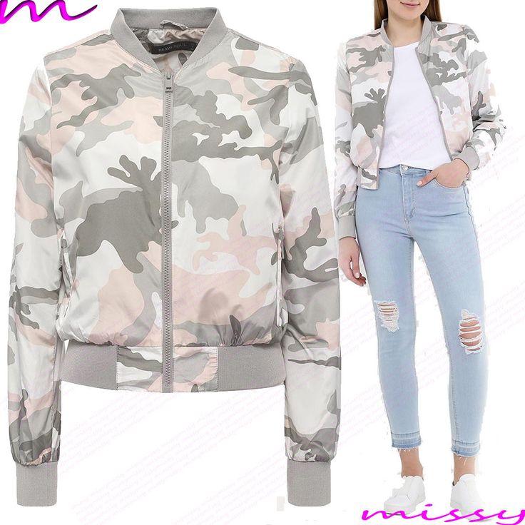 Womens Ma1 Bomber Jacket Ladies Military Coat Vintage Black Size 8 10 12 14