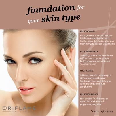 Sebelum dandan, jangan lupa pake foundation ya! eh, tapi foundationnya udah sesuai belum sama jenis kulit kamu? coba di cek lagi deh! ;))  #OriflameID #BeautyTips