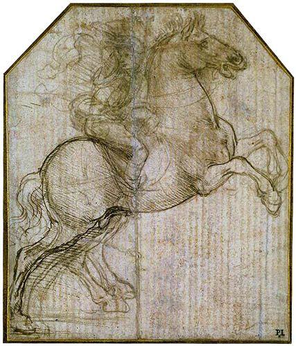 Leonardo da Vinci 'Rider on Rearing Horse', c.1481-82 Studies for a Madonna with a Cat, c.1478-80