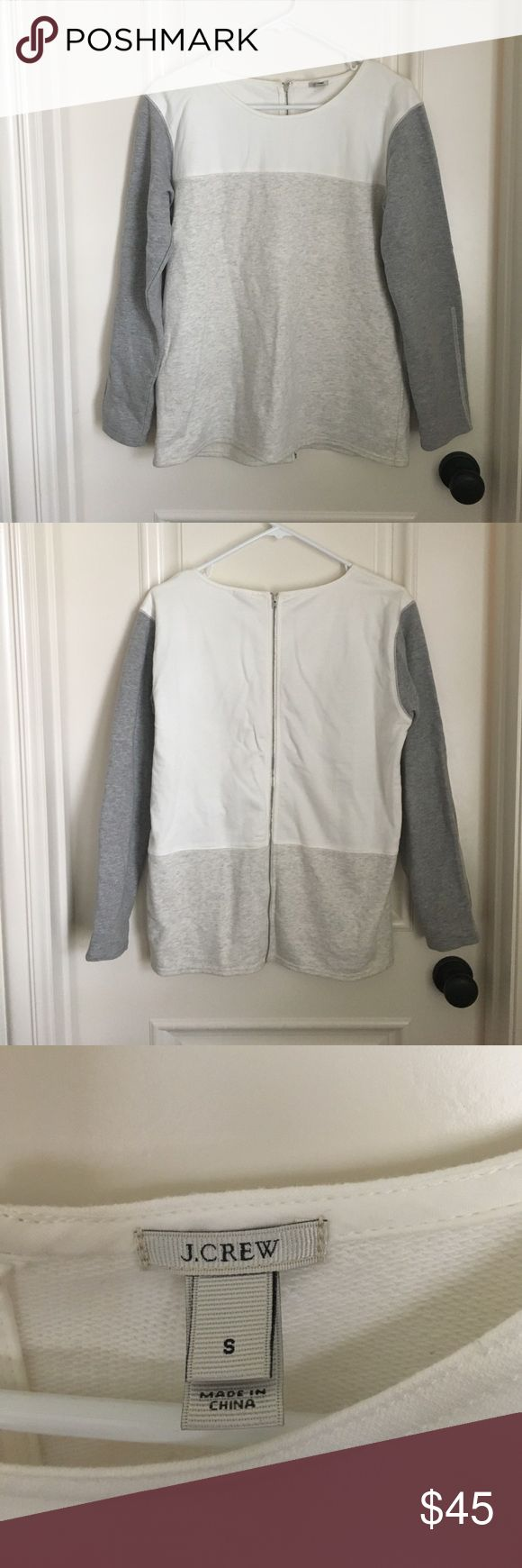 J.crew long sleeve top J.crew sweatshirt top, multi-color (white, gray, and cream), zipper down the back. 100% cotton, very cute with leggings and jeans, worn twice J. Crew Tops Tees - Long Sleeve