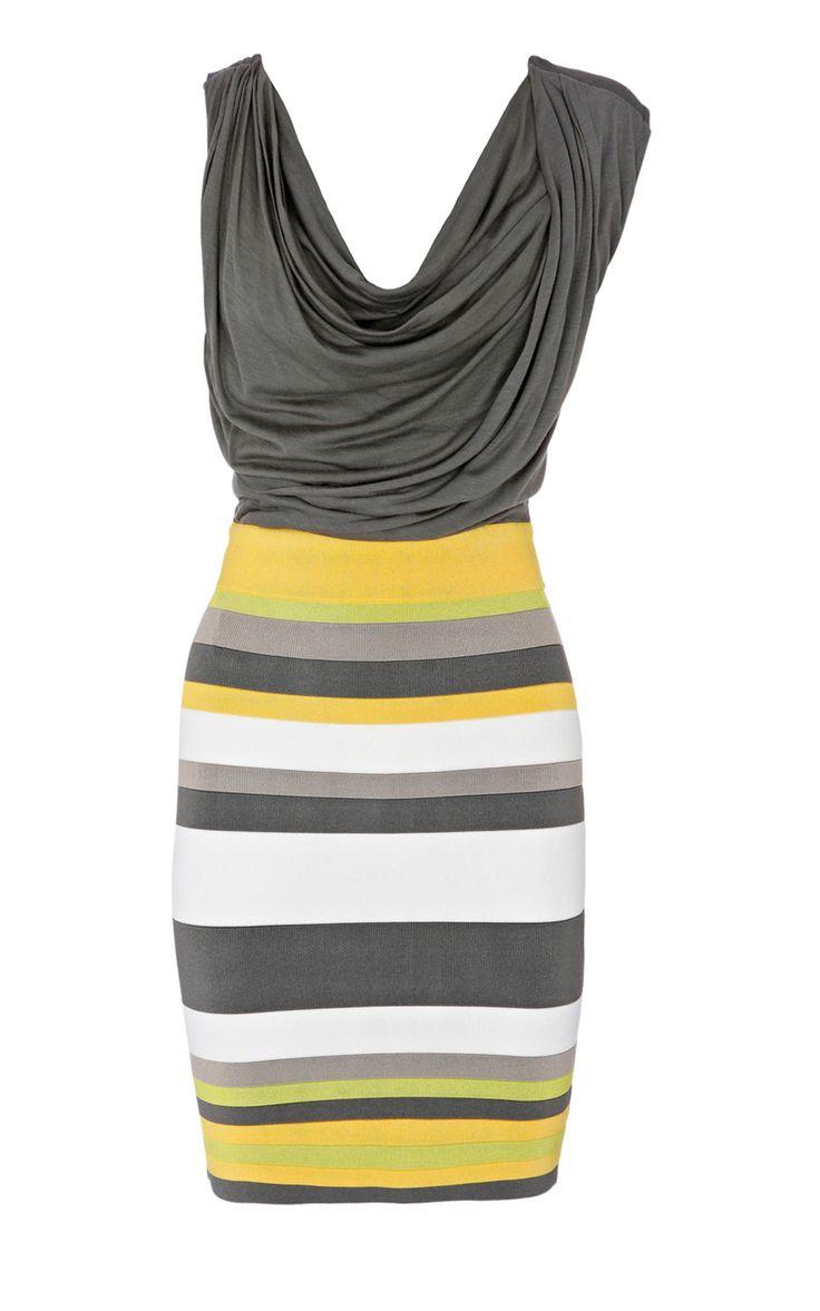 Karen Millen Colourblock Bandage Dress Grey and Multi - suit-dresses.com - $89.34