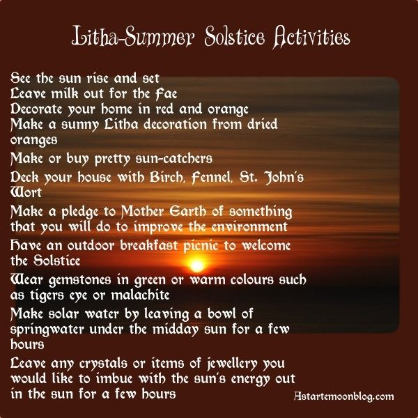 Lithia Summer Solstice Activities~  Litha Rites & Rituals @ http://paganwiccan.about.com/od/LithaRituals/Litha-Rites-And-Rituals.htm  The Standing Stones Midsummer ( Litha) (Summer Solstice) Ritual @ www.americanwiccan.com/thelitharitual.html