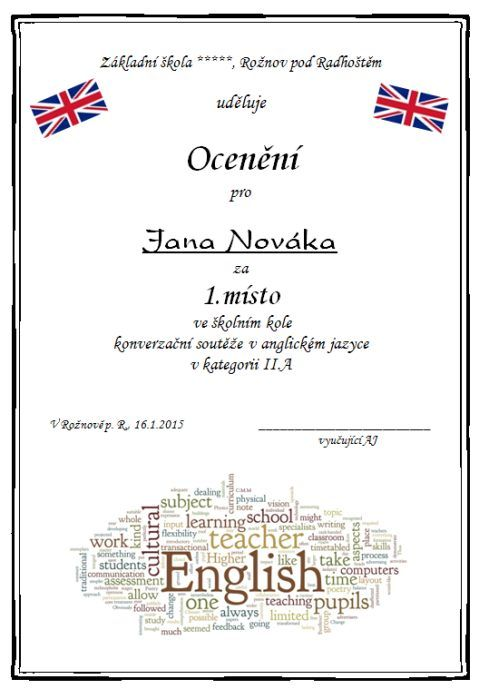 Výsledek obrázku pro diplomy anglický jazyk