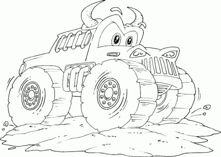 cartoon monster truck free coloring page for kids