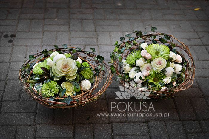 Baskets with flower arrangements - Funeral decoration | Kwiaciarnia POKUSA - Kielce / Florist TEMPTATION - Kielce