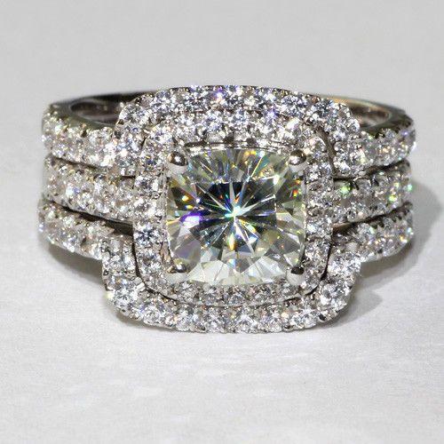 White Gold 3 Total Carat Princess Cushion Cut Engagement Wedding Ring Set