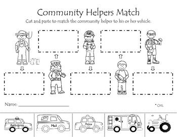 Community helpers matching activity allows students to match the vehicle with the community helper that would drive it.