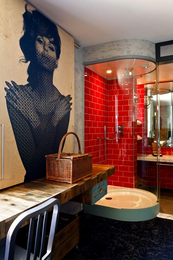 London, Hotels Bathroom, Interiors, Wall Decals, New Room, Dreams House, Tile Shower, Hoxton Hotels, Design