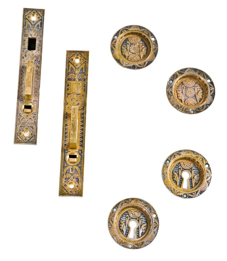 antique american ornamental cast bronze interior residential salvaged chicago pocket door hardware with matching escutcheons  sc 1 st  Pinterest & 265 best Antique Hardware images on Pinterest | Antique hardware ...