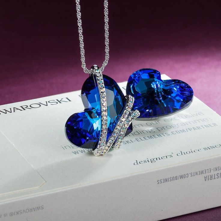 "【Deal of the Day】""Heart of the Ocean"" Blue SWAROVSKI ELEMENTS Crystal Heart Shape Pendant Women Necklace Fashion Party Jewelry 