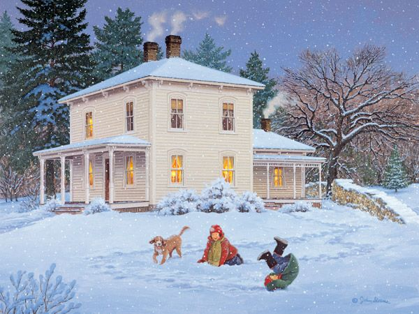 Gently Falling  JohnSloaneArt.com - John Sloane - Gallery - Country Kids