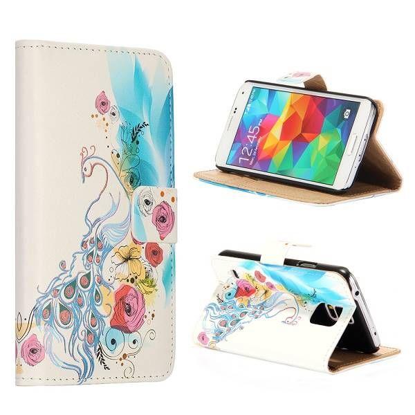 Elegante pauw bookcase hoesje voor Samsung Galaxy S5