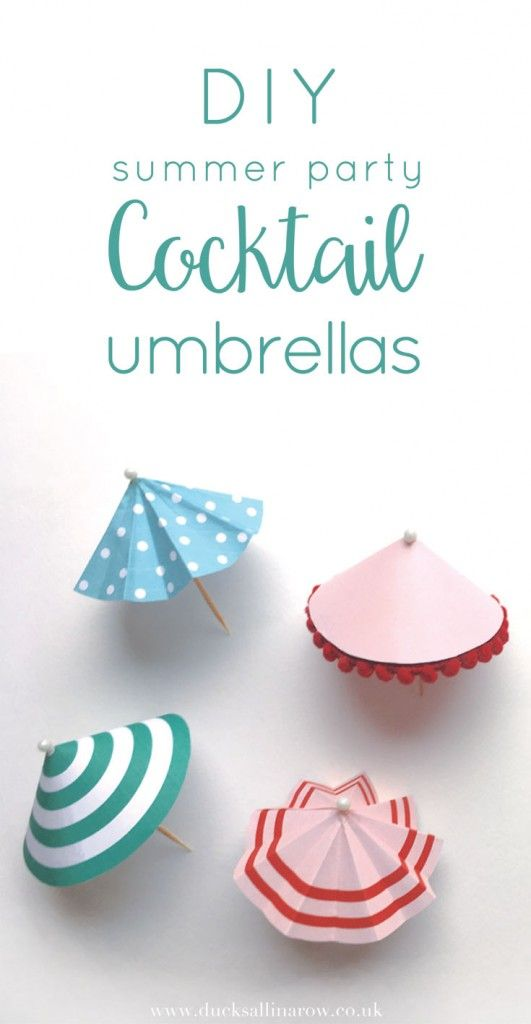 DIY Summer Party Cocktail Umbrellas - free printable - Ducks all in a row