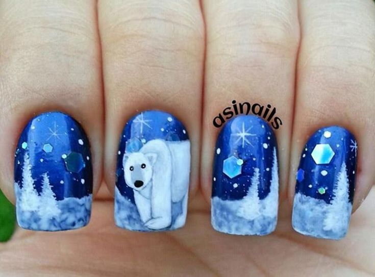 trees snow polar bear freehand winter nails in 2019. Black Bedroom Furniture Sets. Home Design Ideas