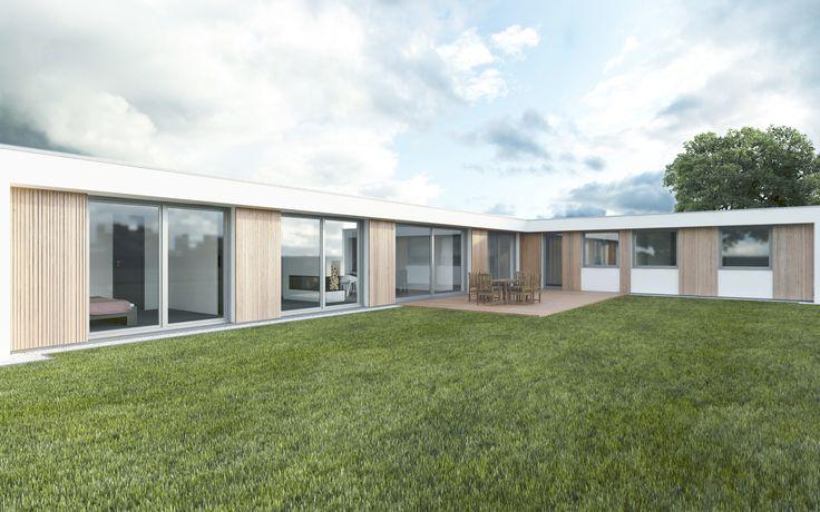 Exteriér je navržen vkombinaci bílé omítky, dřevěného modřínového obkladu a velkých prosklených ploch, které zajistí dostatek světla vdomě a zároveň propojí interiér domu sexteriérem.