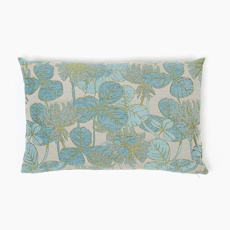 Almofada Savannah Folhas Azul 35 x 54 cm | referência 12674083 | A Loja do Gato Preto | #alojadogatopreto | #shoponline