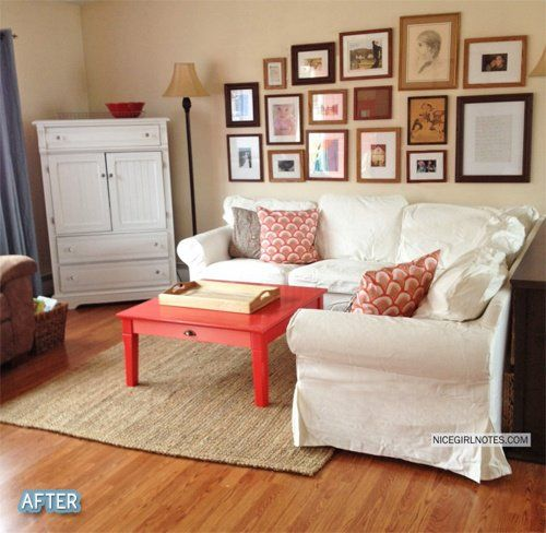 maybe a bright coffee table... also LOVE that gallery!