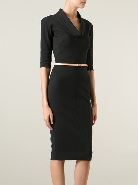 Victoria Beckham Cowl Neck Belted Dress - Ottodisanpietro - Farfetch.com // very Claire Underwood