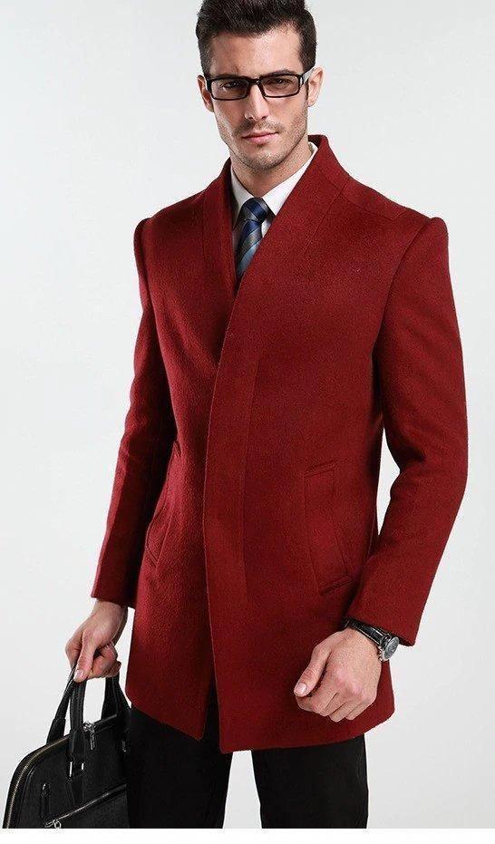 41ee97c3571b Men s Autumn Winter Woolen Slim Fit Coat