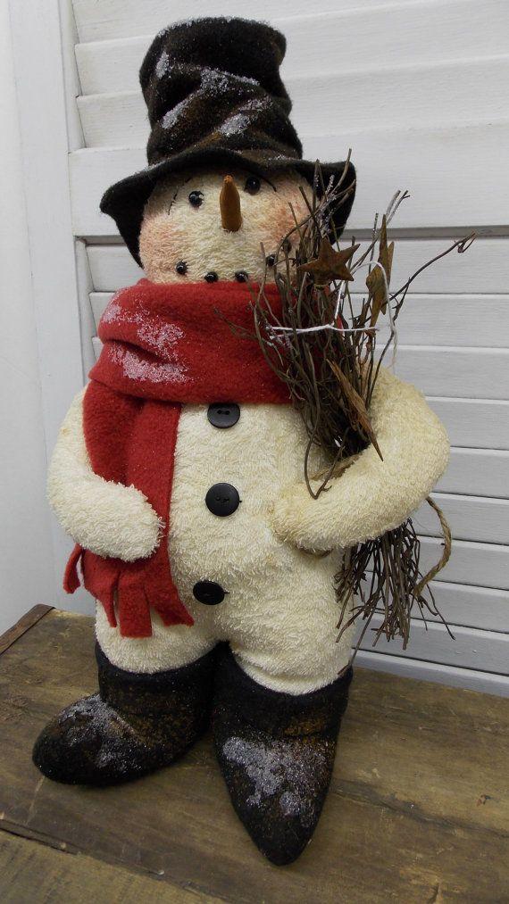 Primitive Snowman Standing Prim Christmas by HandmadeWithHeartCr